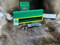 """1978 Puma Packer 4 1/4"""" Knife With Green Checkered Handles Mint In Box - 23 0465"""