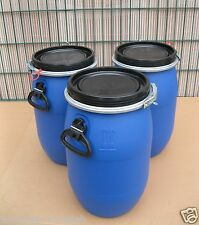 3 x 30 Liter Kunststofffass Deckelfass Futtertonne Gepäcktonne NEU & UNBENUTZT