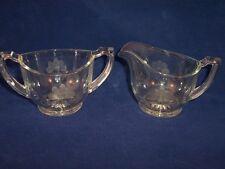 Heisey Art Deco Cream & Sugar Creamer Set Floral Vintage Etched Glassware USA