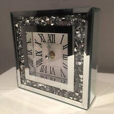 crushed jewel mirror MANTLE TABLE clock roman numbers diamante mirror clock15CM