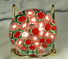 "ITALIAN MURRINA Paperweight Cane ART GLASS 2.25"" di 1.5"" tall RED WHITE GREEN"