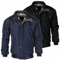 Mens Raiken Sky Diver Bomber Warm Padded Jacket Check Lined Work Winter Coat
