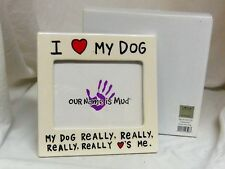 I heart My Dog 6x6in Our Name is Mud white stoneware picture photo frame 4011250