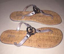 Womens Michael Kors Thong Flip Flops Sandals Silver Size 10 New