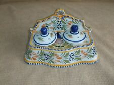 antique Quimper porcelain double ink well, France, Faience