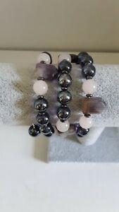 Handmade Bracelet Semi Precious Gemstones Amethyst Glass Quartz