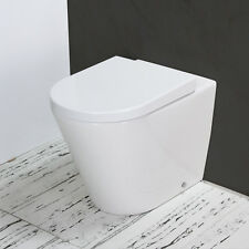 Toilet WC Back to Wall Ceramic Bathroom Heavy Duty Round Soft Close Seat B4N