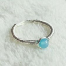 Sterling Silver Wire Wrap Blue Morganite Ring Hand Made Size I