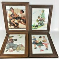 Norman Rockwell Framed Prints Lot of 4 No Swimming Gone Fishing Boy & Dog 3 Girl