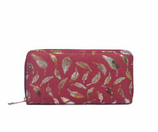 Ladies Womens Girls Canvas Red Metalic Feather Fern Purse Brand New UK Stock