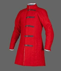 Gambeson Medieval Padded Collar Full Sleeves Thick red Color gambeson