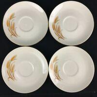 Set of 4 VTG Saucer Plates by Homer Laughlin Golden Wheat 22k Gold USA