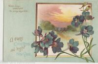 Happy Christmas & Bright New Year, Flowers / Rural Postcard, B520