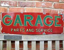 GARAGE enamel sign parts service large vitreous porcelain garage rust VA198AGE