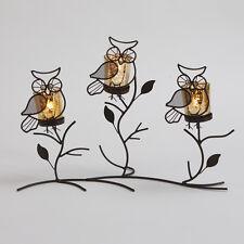 Owl Brown Tea Light Holder Standing Night Home Garden Candle Decorative