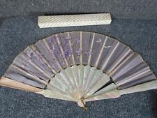 ANTIQUE HAND PAINTED LADIES FAN, ALBALONE SHELL, WISTERIA FLOWERS on SILK