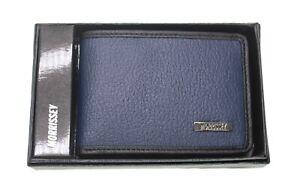 Morrissey Genuine Italian Leather Mens Trifold Wallet RFID Black Navy
