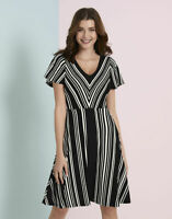New Bravissimo 8-18 CRC RSC CHEVRON STRIPE Black White A line Dress
