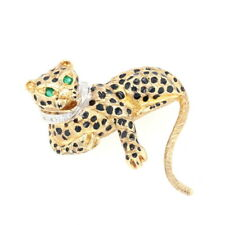 Yellow Gold Emerald & Diamond Leopard Brooch - 14k Round .18ctw Jungle Cat Pin