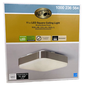 "Hampton Bay 11"" Square Ceiling Light Modern Industrial LED Flush Mount Dimmable"