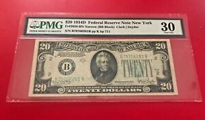 1934 D $20 FEDERAL RESERVE NOTE NEW YORK NARROW CLARK SNYDER PMG 30 VERY FINE
