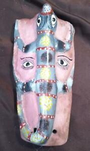 Old Vintage Hand Carved Painted Tribal Art Wood Wooden Face Mask Lizard Man