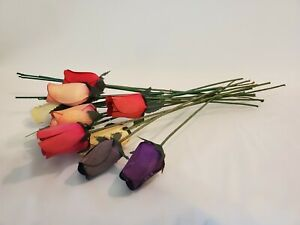 Choose From Purple, Yellow, Lt Green /& Lt Blue w//Blue Tips 1//2 Open Wood Roses