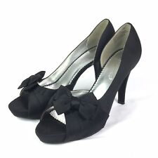 45a89651404 Michaelangelo Maribelle Satin Pumps Heel Peep Toe Black Bridesmaid Womens  10 M