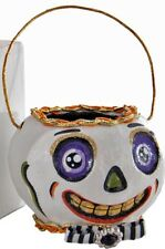 Katherine's Collection Tricky Treats Halloween Skull Basket Candy Holder NEW