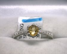 14K White Gold Genuine Citrine Ring Size 7.25 Natural