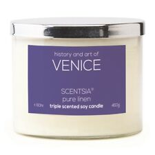 Scentsia History & Art of Venice 450 G Soy Candle - Pure Linen by Spotlight