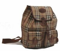 Authentic Burberrys Nova Check PVC Backpack Brown Beige C1767