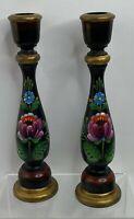 """Pr Vtg wood Hand Painted Toleware  Candlesticks Black 9"""""""