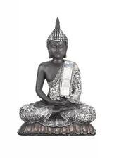 Silver Sitting Buddha Ornament Statue Figurine Home Decor Furniture Sparkly Gift