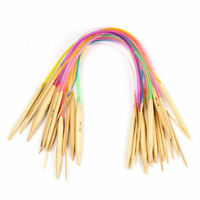 18 Sizes Circular Bamboo Knitting Needles Set +Colored Tube 2.0mm-10.0mm