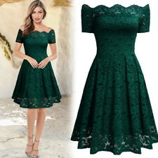 Women Vintage Floral Lace Boat Neck Short Sleeve Bridesmaid Wedding Party Dress