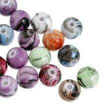 200 Marbled Shiny Round Acrylic Beads 7.5mm Mixed Colours J20192V