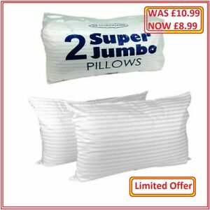 Deluxe Bounce Back Pillow Striped Extra Filled Super Jumbo Hotel Quality Pillows