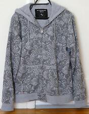 QUIKSILVER Fleece Fur Lined Cotton Graphic Hoodie Zip Jacket - GRAY sz M