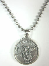 "3/4"" St Michael / Police Officer Medal Pendant Necklace 24"" Stainless Ball Chain"