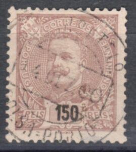 PORTUGAL-D.CARLOS-1895/6- 150 R.- BROWN- used stamp-Y&T-141-Mundifil 136