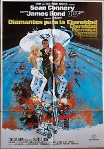 Diamonds Are Forever ORIGINAL Spanish '83 POSTER Sean Connery as James Bond 007