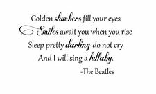 The Beatles Quote Vinyl Wall Decal Lettering GOLDEN SLUMBERS