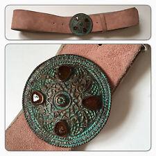 Vintage suede Pink leather belt large buckle