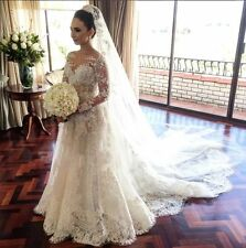 Classic Lace A Line Wedding Dress 2018 Long Sleeve with Flowers Wedding Gown