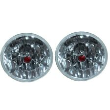 """For Chevy Impala Chevelle 5 3/4"""" Clear Red Dot Tri Bar Headlights H4 Bright US"""