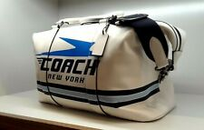 NIB Coach Voyager Chalk Duffle Bag with Vintage Coach Motif  F72950