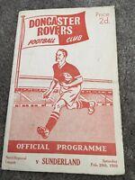 DONCASTER ROVERS V SUNDERLAND RESERVE FIXTURE 1958/59