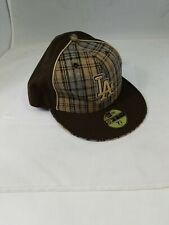 MLB Los Angeles Dodgers New Era Brown Flannel Rare LA 59Fifty Fitted Cap Hat