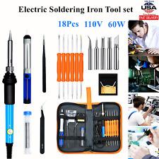 110v 60w Electric Soldering Iron Tools Set Welding Gun Desoldering Pump Withbag Us